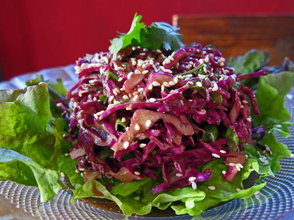 Purple Cabbage Slaw With Sesame Dressing Mmm Yoso