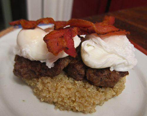 Ostrich Burger-Bacon-Egg-quinoa