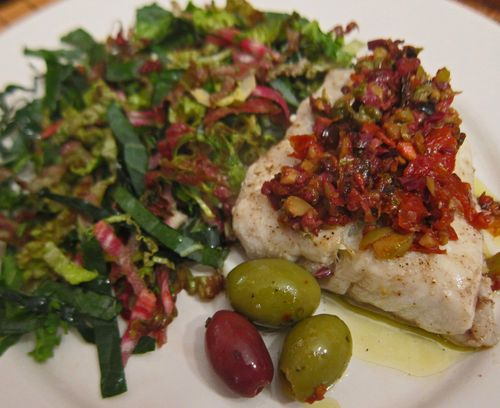 Olive Oil Poached White Seabass  Topped with Tapenade 02