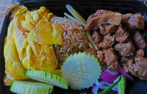 Khao Kluk Kapi (Shrimp Paste Fried Rice) with Honey Pork - Chaba Thai